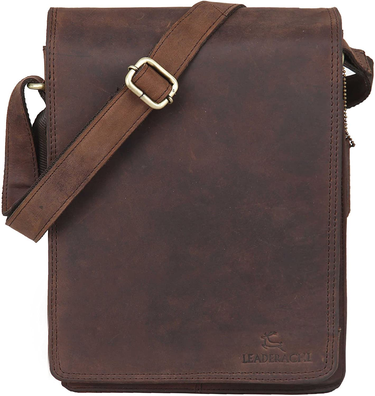 LEADERACHI Shoulder bag crossbody bag 10 inch tablet bag leather bag in vintage style for men women 71UMxfnNt7L