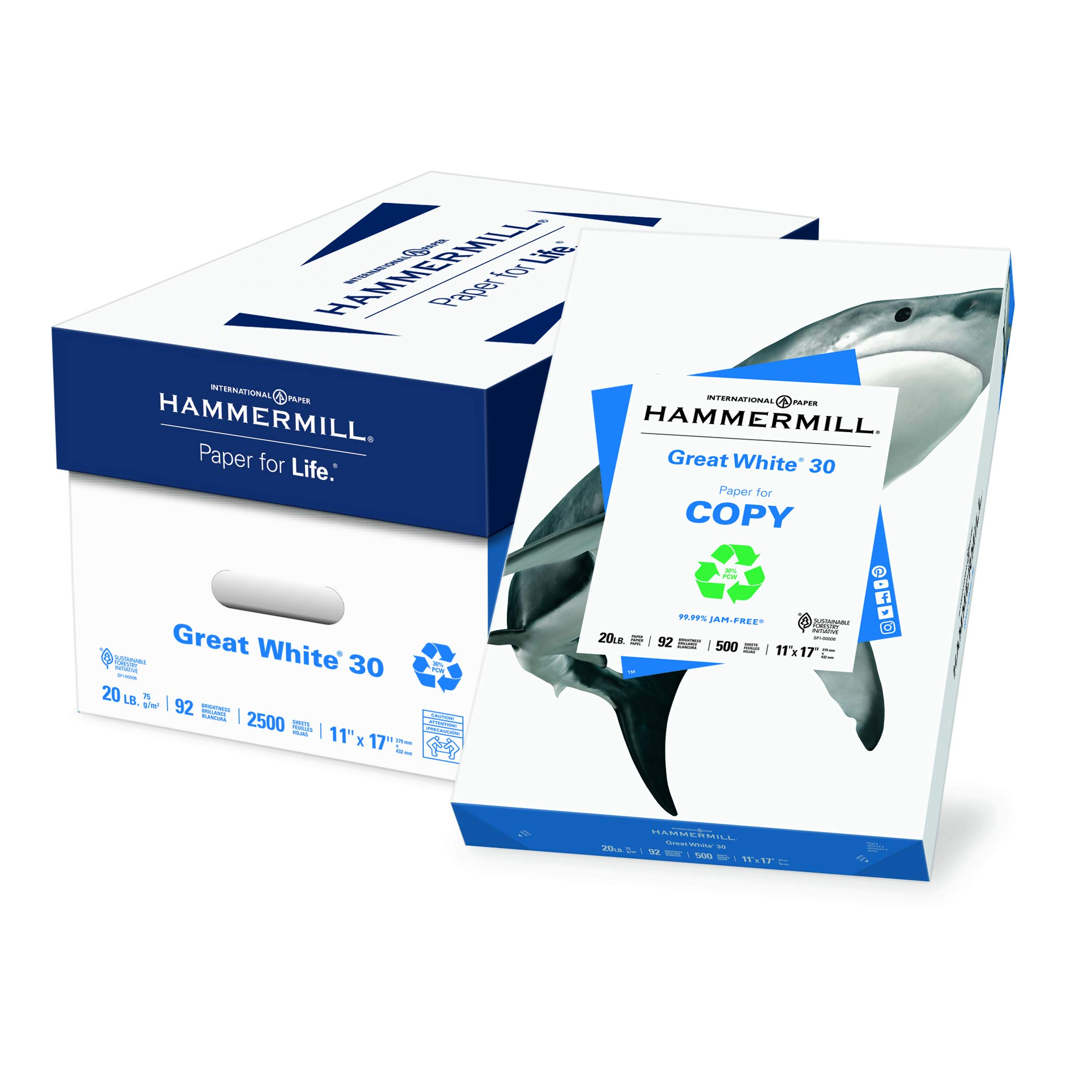 Hammermill Paper, Great White 30% Recycled Printer Paper, 11 x 17 Paper, Ledger Size, 20lb, 92 Bright, 5 Reams / 2,500 Sheets (086750C) Acid Free Paper