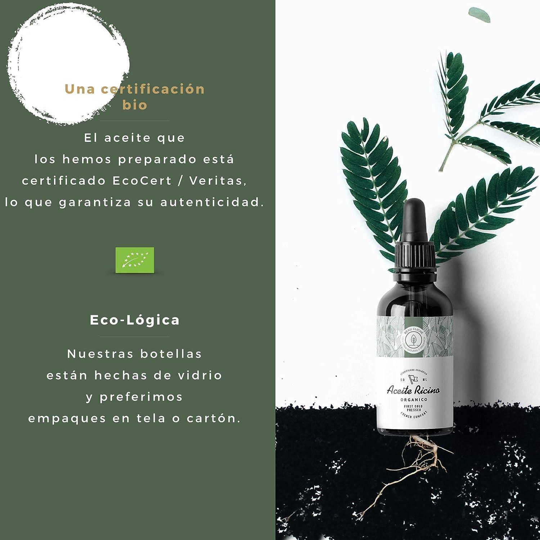 50ml Aceite de Ricino Orgánico, prensado en frío, puro - 100% Natural Care estimula y fortalece el crecimiento del cabello, barba, pestañas, cejas, ...