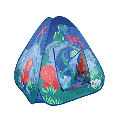 Childrens Pop Up Play Tent Dinosaur Cave With Unique Printed Playmat: Toys & Games