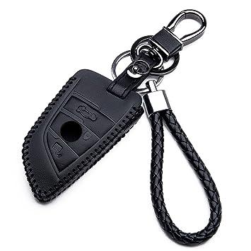 Carcasa Funda de Piel con Llaveros para Llave Control Remoto BMW Serie 2 7 X5 X6 Nuovo Smartkey Llave 3 Botones Protección Cuero Sintético de Mando a ...