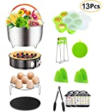 JGSY 13 Pieces Accessories Set Fits 6, 8 Qt InstaPot, Ninja Foodi, Other Pressure Cookers, with Steamer Basket for Instant Pot Accessories Set, Springform Pan, Egg Bites Mold, Oven Mitts and More