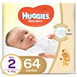HUGGIES New Born Diapers, Size 2, Value Pack, 4-6 kg, 64 Diapers