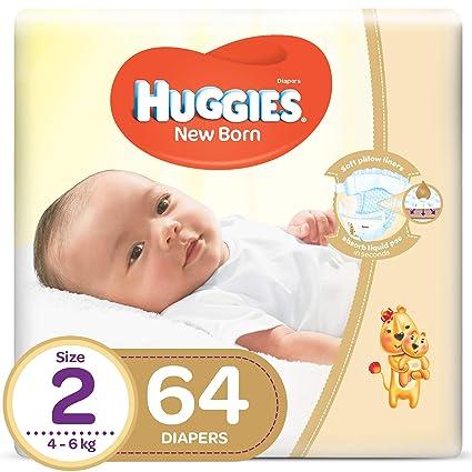 HUGGIES pañales recién nacidos, tamaño 2, paquete de valor, 4 - 6 kg ...