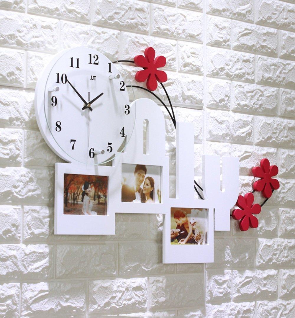 ZHENAI 時計と 壁時計 リビングルーム シンプル ミュート 大型クォーツ時計、2色 ( 色 : 白 ) B07BT4474Q 白 白