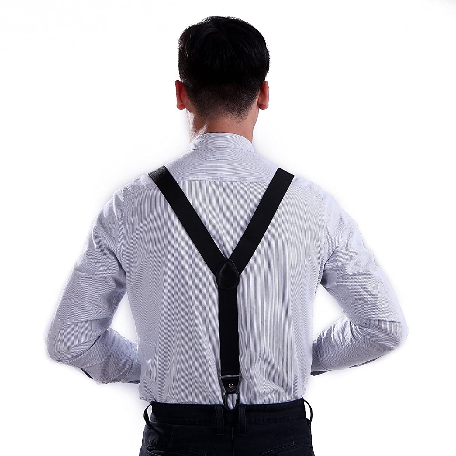 Men's Vintage Style Suspenders HDE Men's Formal Fashion Button End Adjustable Dress Suspenders - 1 1/4 Inch Wide $9.55 AT vintagedancer.com