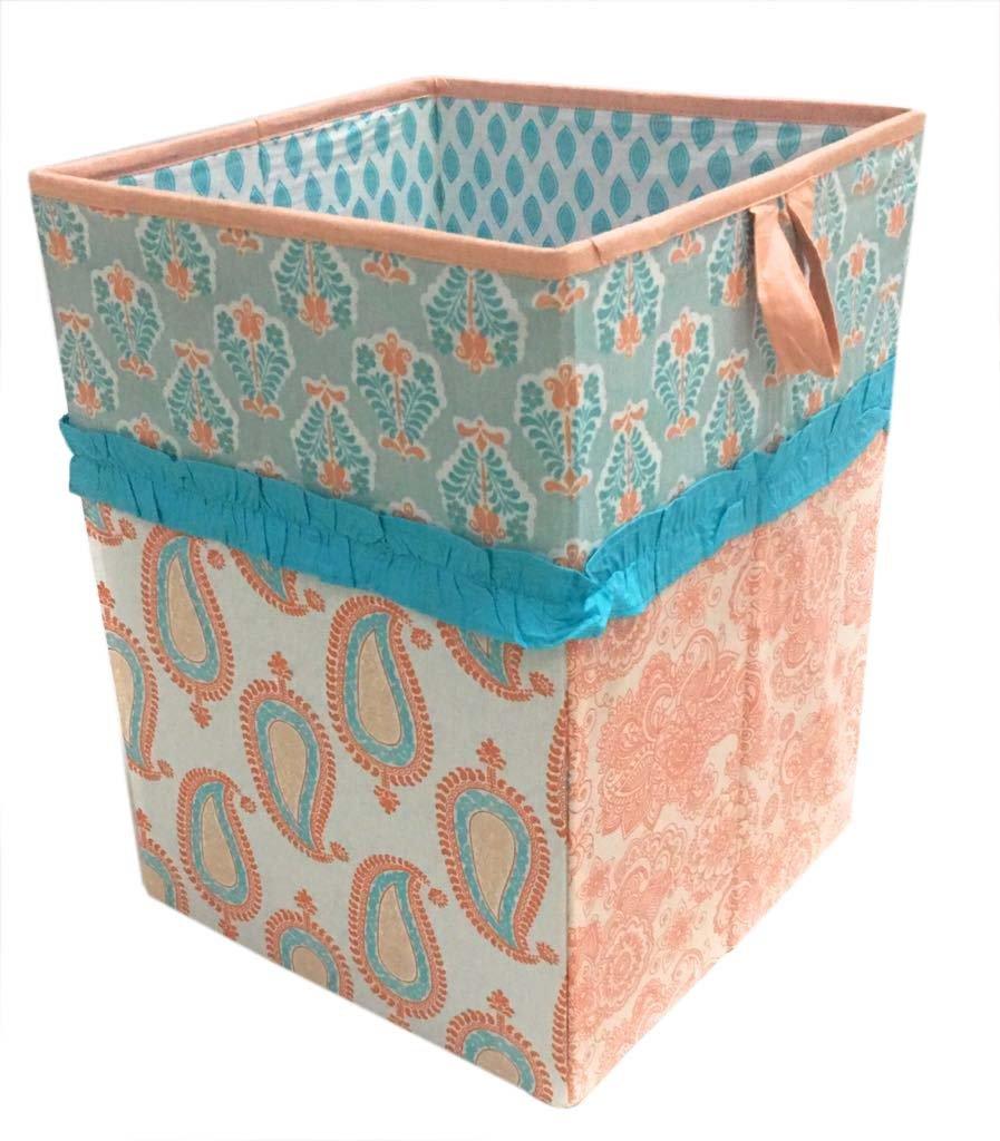 Bacati Sophia Paisley Fabric Collapsible Hamper, Coral/Aqua by Bacati