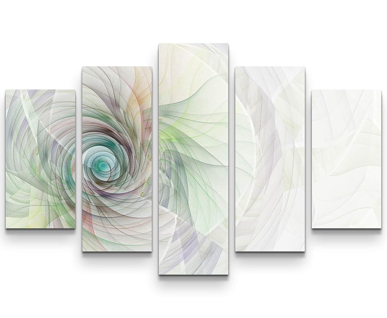 5 teiliges Wandbild auf Leinwand (Gesamtmaß  150x100cm) Abstraktes Bild – Spirale aus feinen bunten Linien