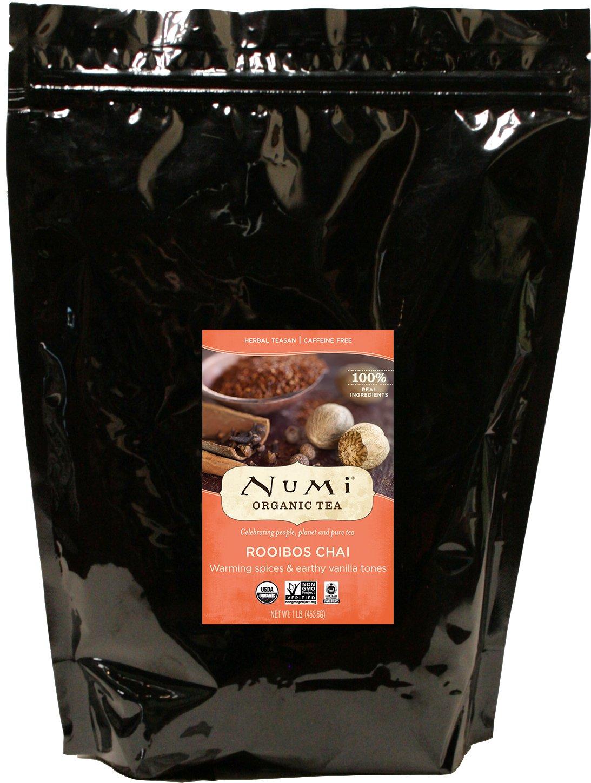 Numi Organic Tea Rooibos Chai, 16 Ounce Pouch, Loose Leaf Herbal Teasan, Caffeine-Free