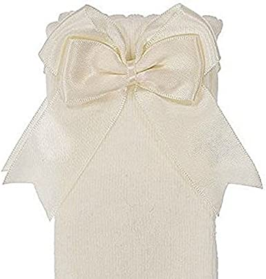 girls baby infant cream or white long socks with double bow