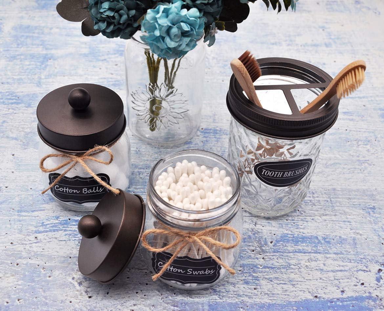 Amolliar Mason Jar Bathroom Vanity Organizer Qtip Dispenser Holder Canister Glass for Q-Tips,Cotton Swabs,Rounds,Ball,Flossers//Bronze,2-Pack Rustic Farmhouse Decor Bronze Bathroom Accessories