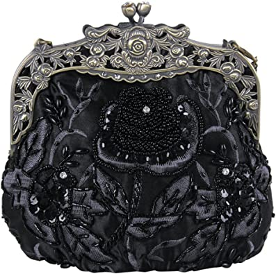 Black Beaded and Sequin Bag