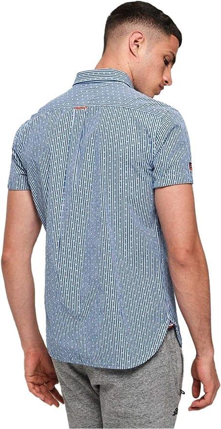Blu Camicia uomo Superdry Premium University JET Manica Corta Camicia