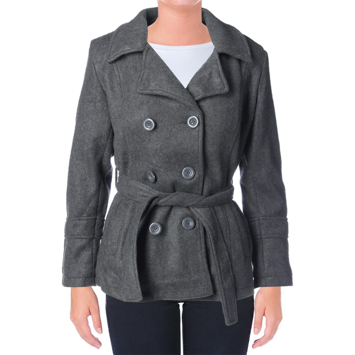 YMI Womens Juniors Faux Wool Double Breasted Pea Coat Gray L