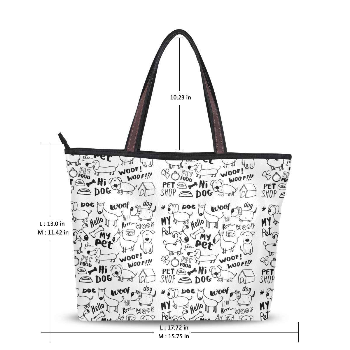 Women Handle Funny Dogs Pets Satchel Handbags Tote Purse Shoulder Bag Big Capacity Handbag