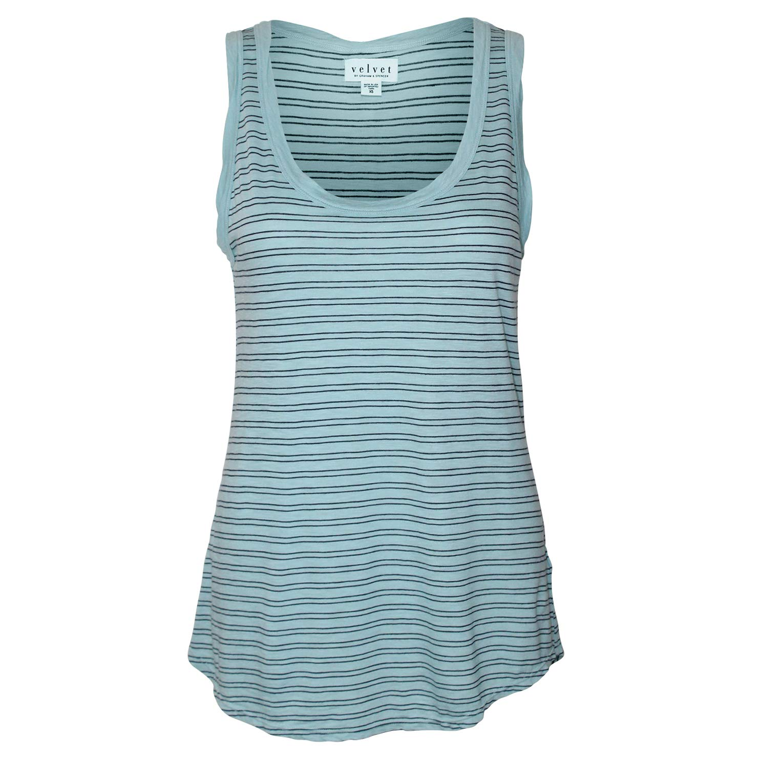 Velvet by Graham & Spencer Womens Lucca Striped Scoop Neck Tank Island Extra Small, Large
