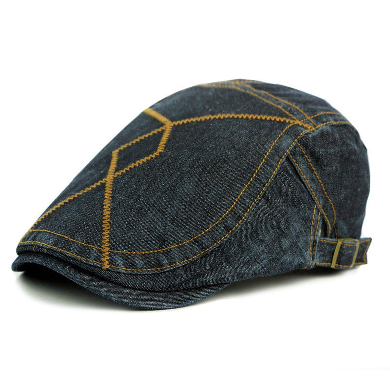 MEIZOKEN British Style Denim Beret Retro to Do The Old Cap Forward Newsboy Caps for Men and Women