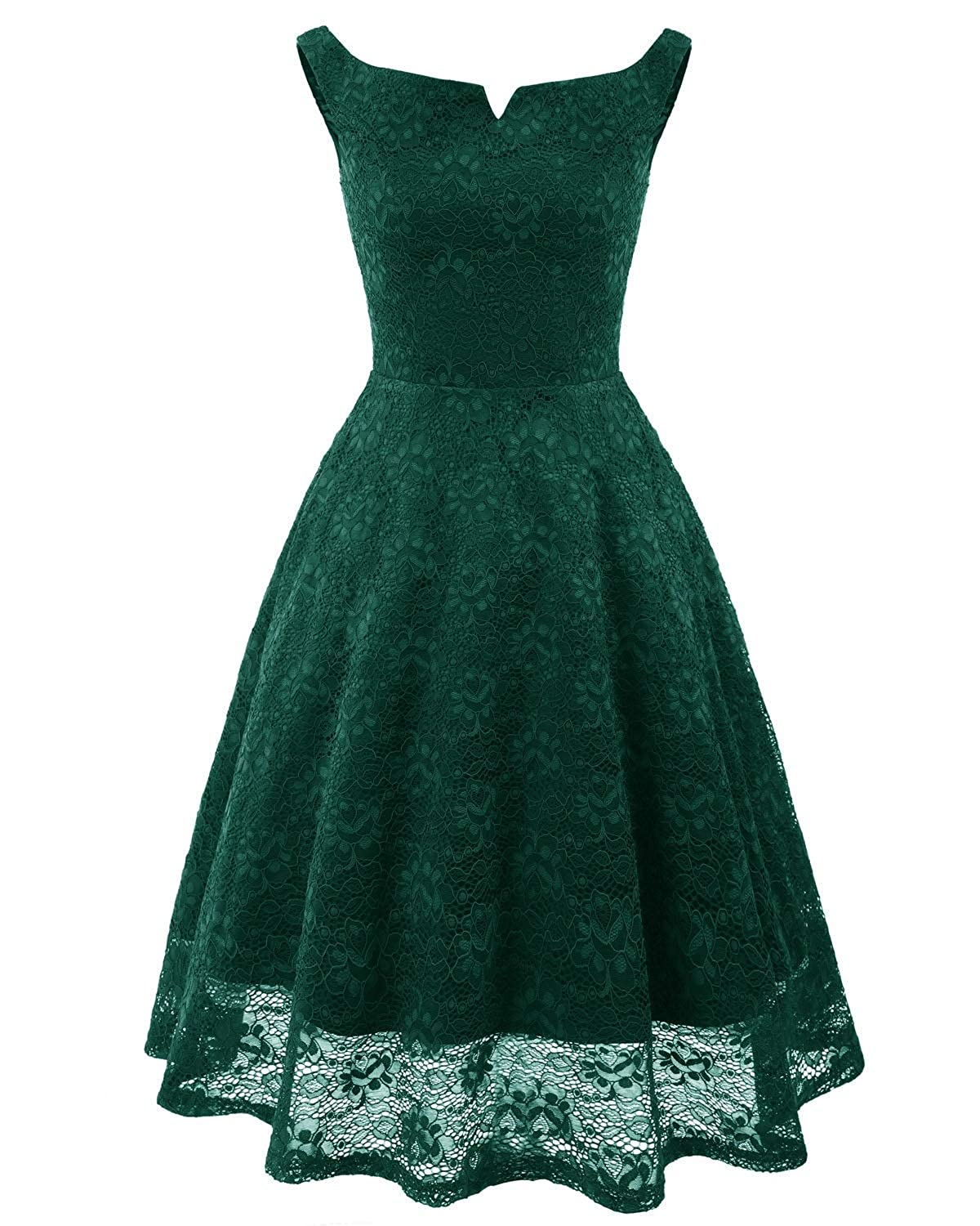 Green Zooka Vintage Floral Lace Off Shoulder Dress Women High Low Hem Midi Party Robe Dress