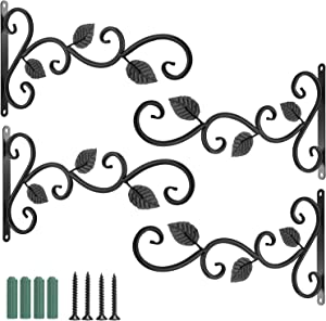 Wall Hook Hanging Plant Bracket - 4 Pack 11.8 inches Iron Hanging Hooks Screws Included, Decorative Plant Hanger for Bird Feeders, Planters, Lanterns, Wind Chimes, Indoor Outdoor Rustic Home Decor