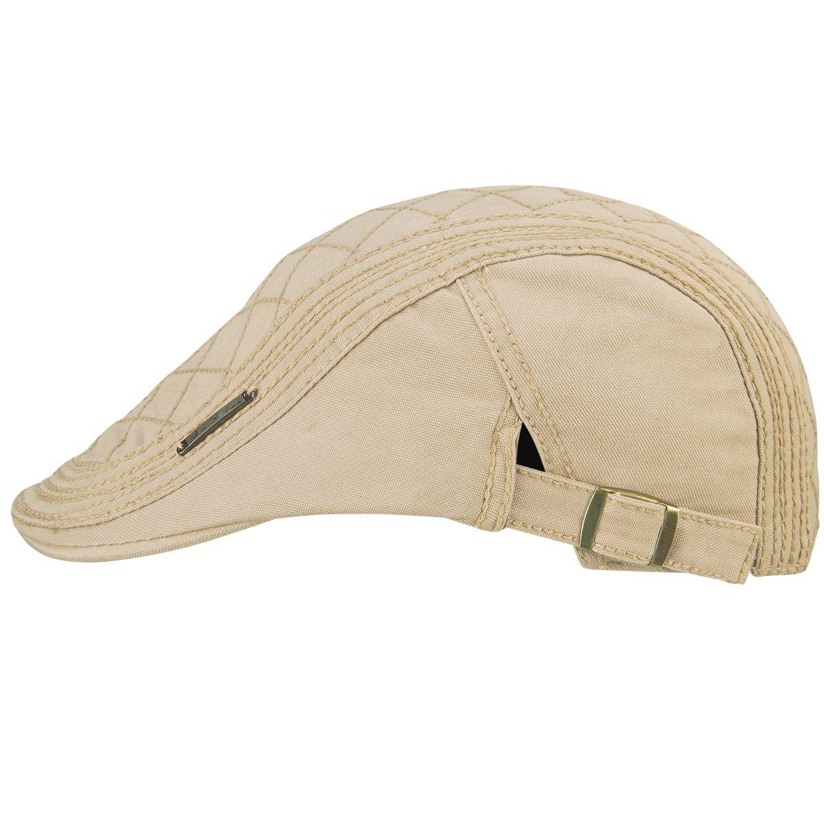 d46b82dab20 OMECHY Men s Cotton Flat Newsboy Cap Cabbie Ivy Duckbill Irish Cap Gatsby  Driving Golf Beret Hat Khaki at Amazon Men s Clothing store