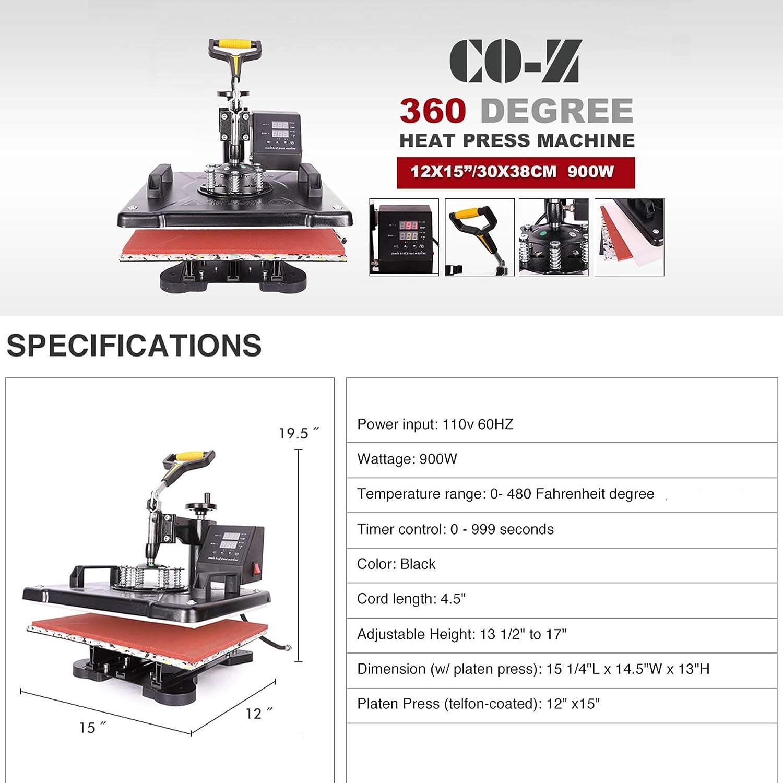 12x10 CO-Z Heat Press 360 Degree Swivel Heat Press Machine Multifunction Sublimation Combo T Shirt Press Machine for Mug Hat Plate Cap Mouse Pad Only Machine