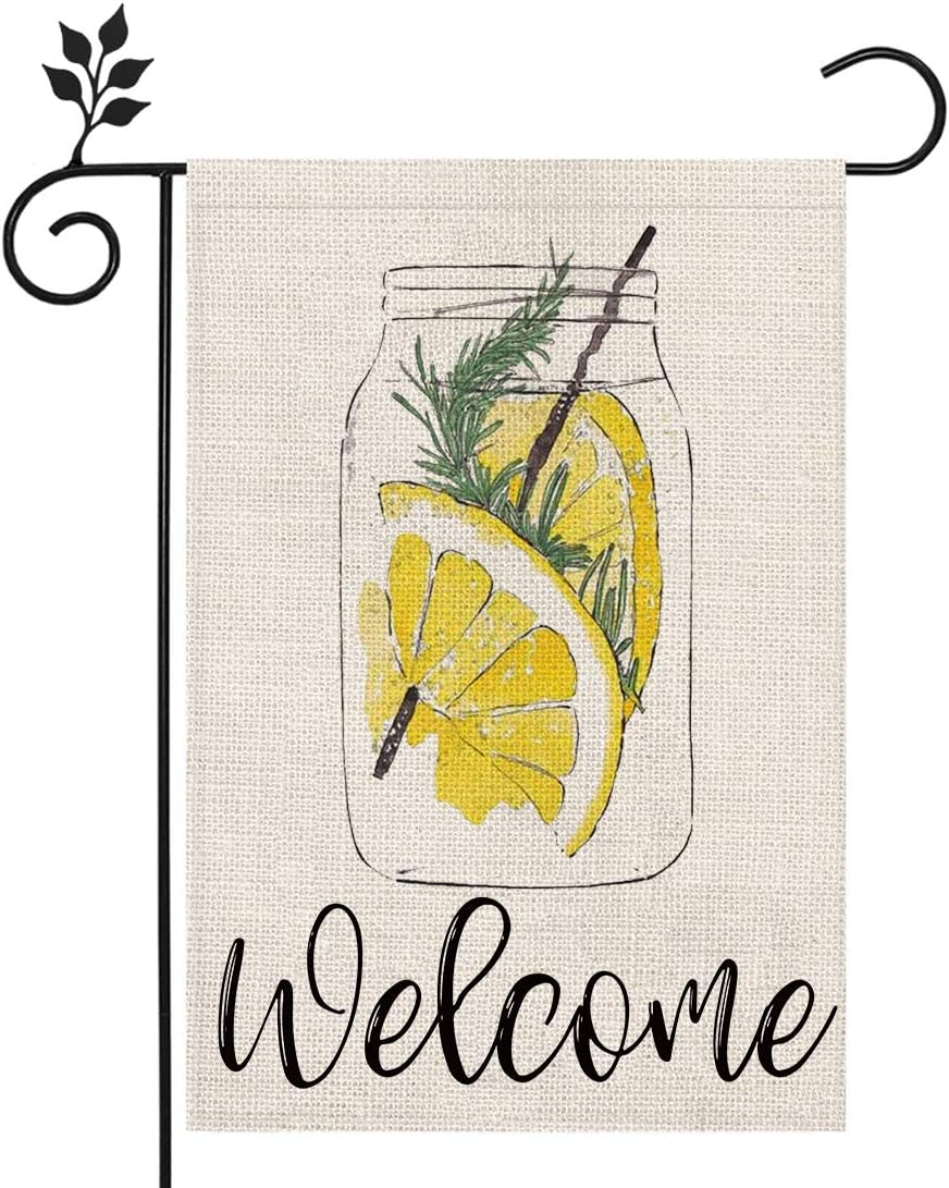 CROWNED BEAUTY Summer Welcome Garden Flag Mason Jar Lemonade 12×18 Inch Double Sided Vertical Yard Outdoor Decoration CF152-12
