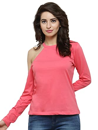 0e3ed63986eb0 silly people Top for Women - Pink Solid Cold-Shoulder Full Sleeves Top -  Soft Cotton Material - Stylish Top wear for Ladies - Casual Wear Daily  wear Party ...