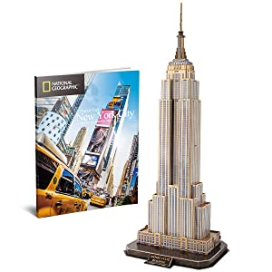 CubicFun National Geographic 3D Puzzles New York Mansion Model Kits Toys for Adults and Children, the Empire State Building, with a Booklet