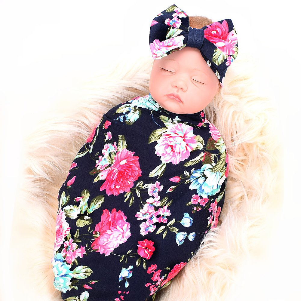 282caf973 Amazon.com: Newborn Receiving Blanket Headband Set Flower Print Baby Swaddle  Receiving Blankets ga: Home & Kitchen