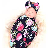 Galabloomer Receiving Blanket Headband Set Flower Print Baby Swaddle Receiving Blankets… (Navy Blue Rose)