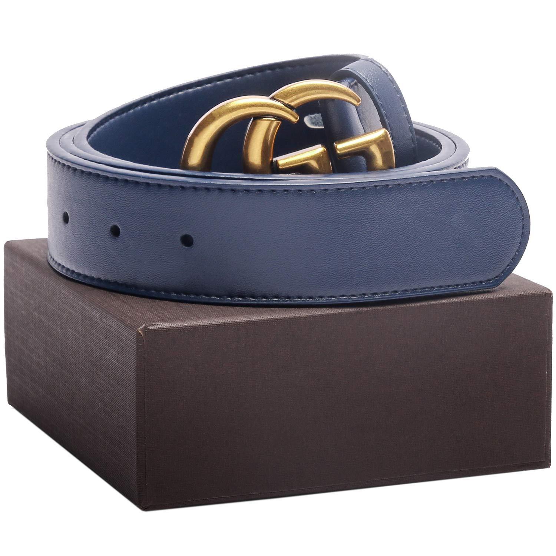 Matte Gold Buckle Blue Leather Unisex Fashion Belt for Mens Pants Jeans Shorts ~ 3.8cm Belt Width