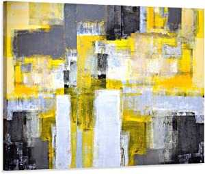 """Decor MI Modern Abstract canvas Wall Art Yellow Wall decor Prints paintings Artwork Wall Decorations Home Decor for Living room Stretched and Framed Ready to Hang 24""""x35""""inches"""