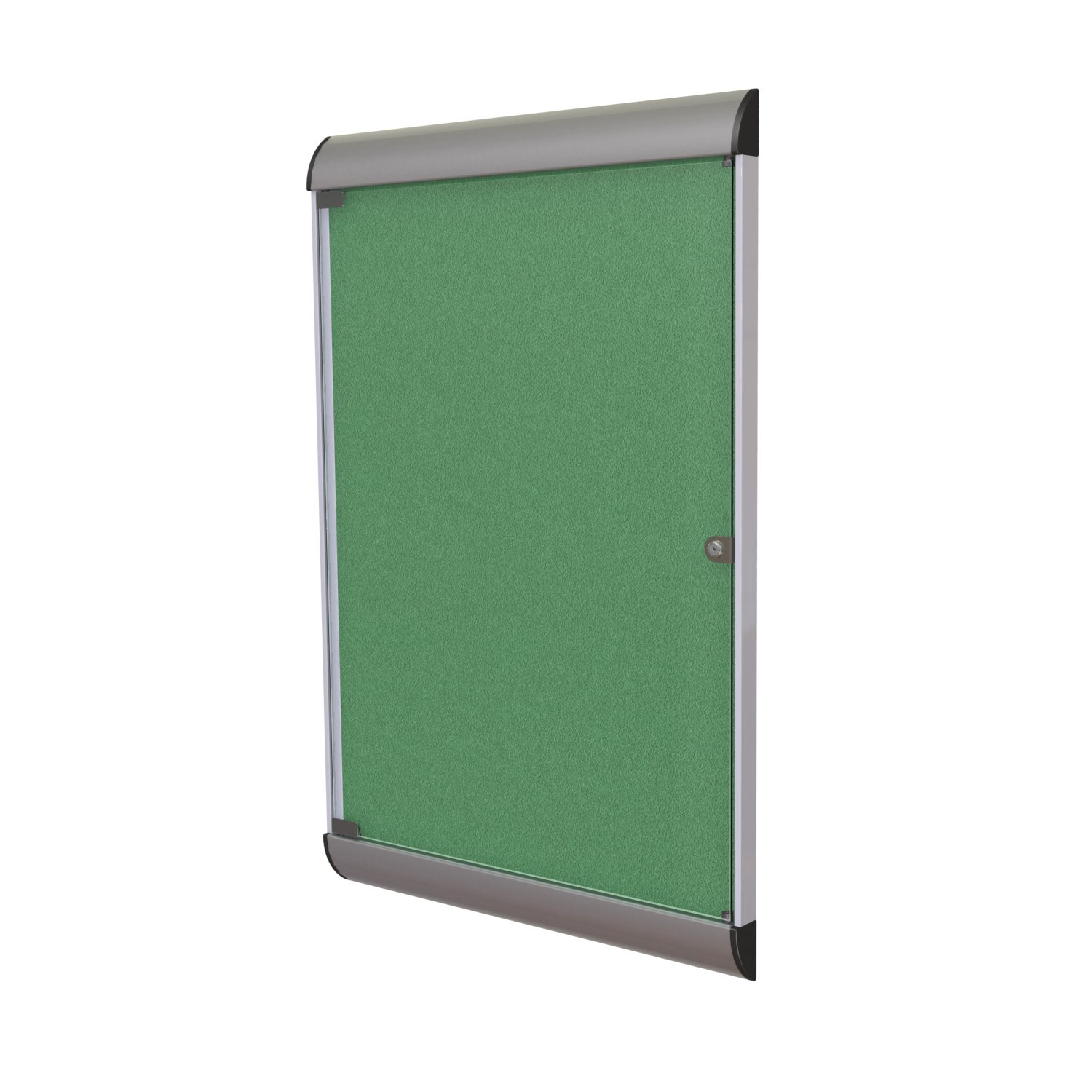 Ghent 42-1/8 x 27-3/4 Inches 1-Door Silhouette Enclosed Bulletin Board, Satin and Black Frame with Vinyl Fabric, Spruce , Made in the USA
