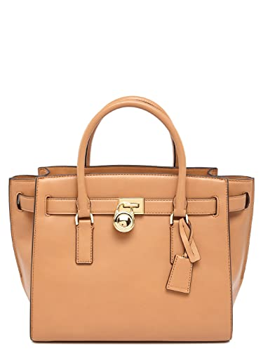 c58664edf5a3fb Michael Kors Hamilton Traveler Large Leather Satchel - Suntan ...
