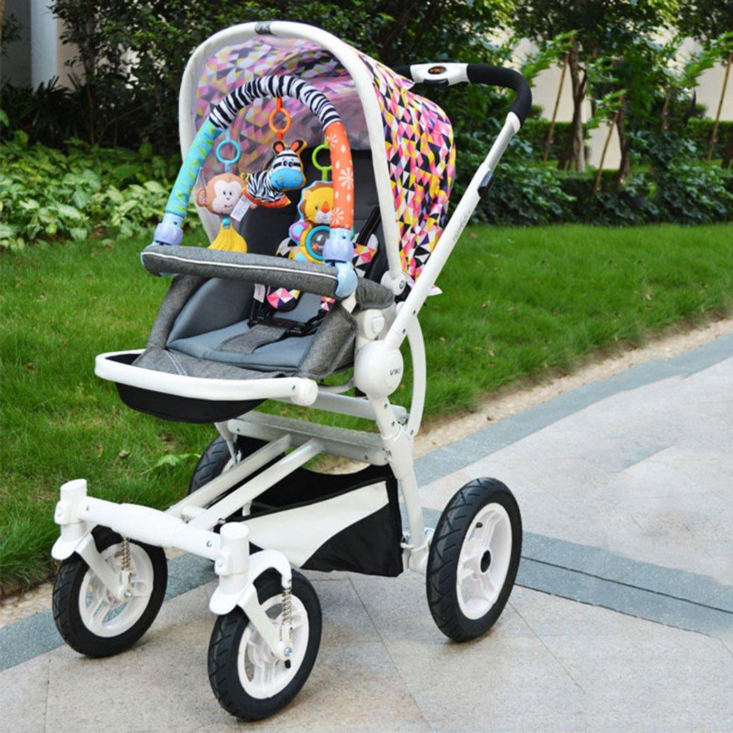 Amazemarket - Cochecito de peluche suave para bebé, bebé, niños, cuna, león, mono, arco, chirrio/batalla/mordedor baby Stroller clip ...