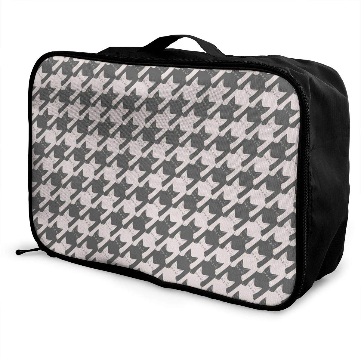 Cat Houndstooth Travel Duffel Bag Waterproof Fashion Lightweight Large Capacity Portable Luggage Bag
