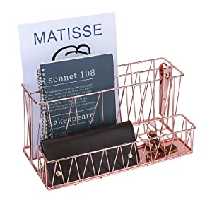 Simmer Stone Magazine Holder, 2 Slot File Sorter with Mail Organizer, Wire Desk Organizer Basket for Letter, Document, Folder and Accessories, Rose Gold
