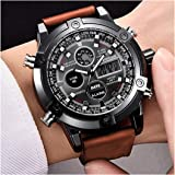 Micacchi Harbour Digital Analogue Date, Time and Alarm Featured Brown Leather Belt Men's Watch