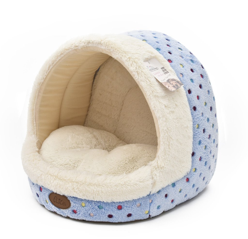 TOFERN Cute Colorful Dots Non-slip Washable Self-heating Fleece Pet Bed Puppy Dog Cat Igloo House with Waterproof Base, igloo, Sky Blue-S by Tofern (Image #1)