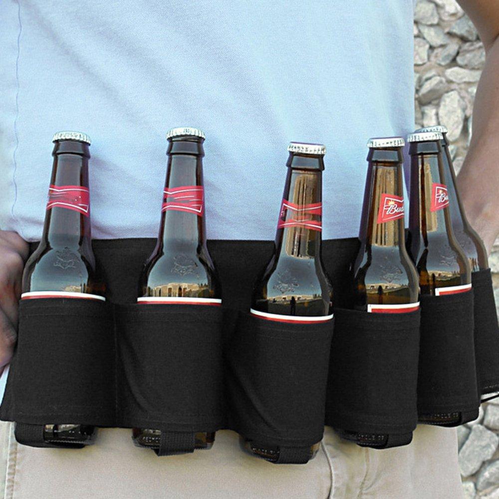 Outdoor Six Pack Beer Bottle Belt Portable Beverage Waist Bag Camping Gathering Drink Soda Cans Holder Hands Free Drink Carrier Belt