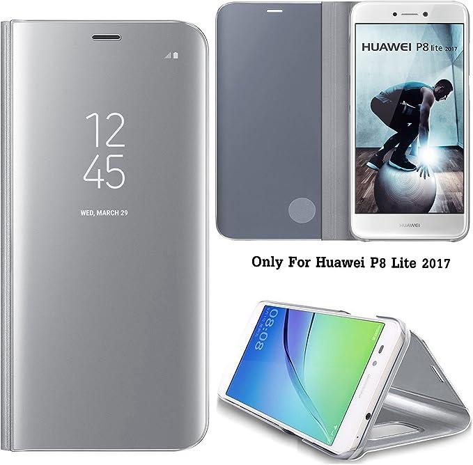 Guran® Mirror Efecto Espejo Funda para Huawei P8 Lite (2017) / P9 Lite (2017) Clear View Función de Soporte Plegable Smartphone Funda Protectora (Plata): Amazon.es: Electrónica