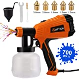 YATTICH Paint Sprayer, 700W High Power HVLP Spray Gun, 5 Copper Nozzles & 3 Patterns, Easy to Clean, for Furniture…