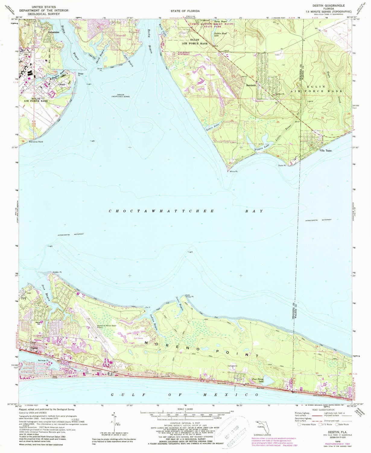 Amazon.com : YellowMaps Destin FL topo map, 1:24000 Scale ...