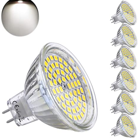 Bombilla LED GU5.3 MR16 12V 5W Equivalente a Halogeno 35W Spot Luz GU 5.3 MR 16 Blanco Neutro 4500K Foco Ojo de Buey 420 Lumen Ø50 x 48 mm Pack de 6