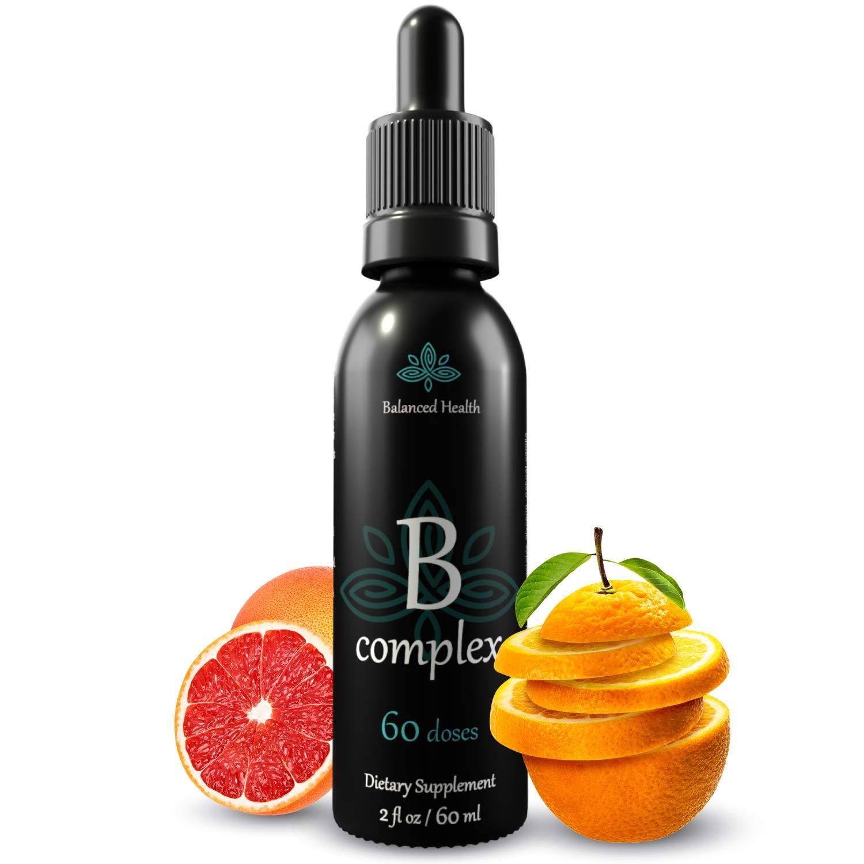 Balanced Health Liquid Vitamin B-Complex Drops, Immune Energy Support Supplement All 8 B Vitamins Non GMO Vegetarian Safe Rapid Absorption, 2oz.
