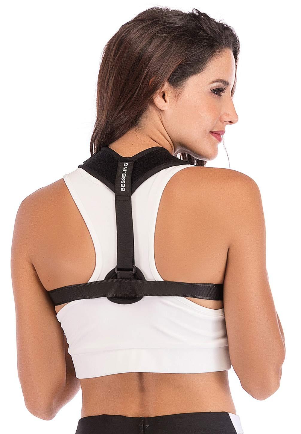 Back Posture Corrector for Women & Men Besseling Comfortable Back Support Brace Neck Back Pain Relief Adjustable Shoulder Posture Trainer Clavicle Correction for Slouching & Hunching FDA Approved