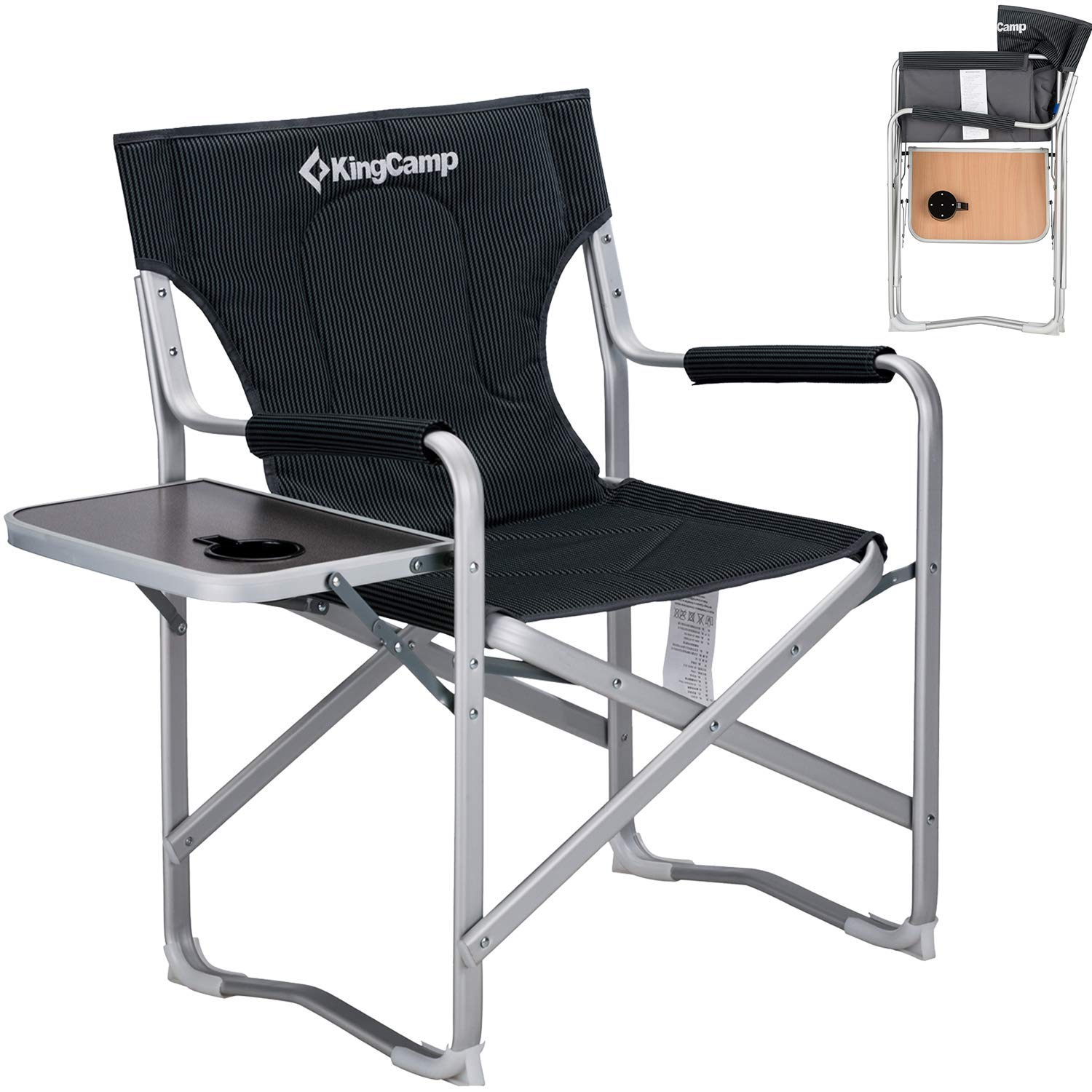 KingCamp Heavy Duty Director's Chair Padded Full Back Aluminum Portable Camping Chair with Armrest Side Table and Cup Holder, 7.7 lbs by KingCamp