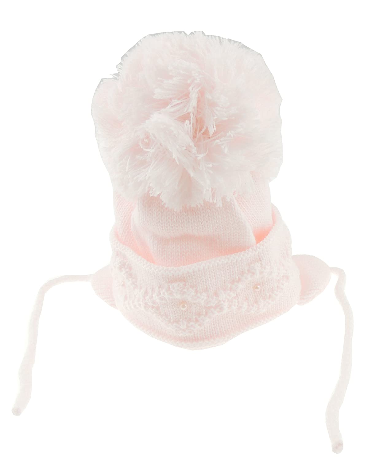 Soft Baby Girls Boys Warm Winter Chunky Swirl Knit Pom Pom Bobble Turn Up Inca Style Hat White 6-12 Months Glamour Girlz