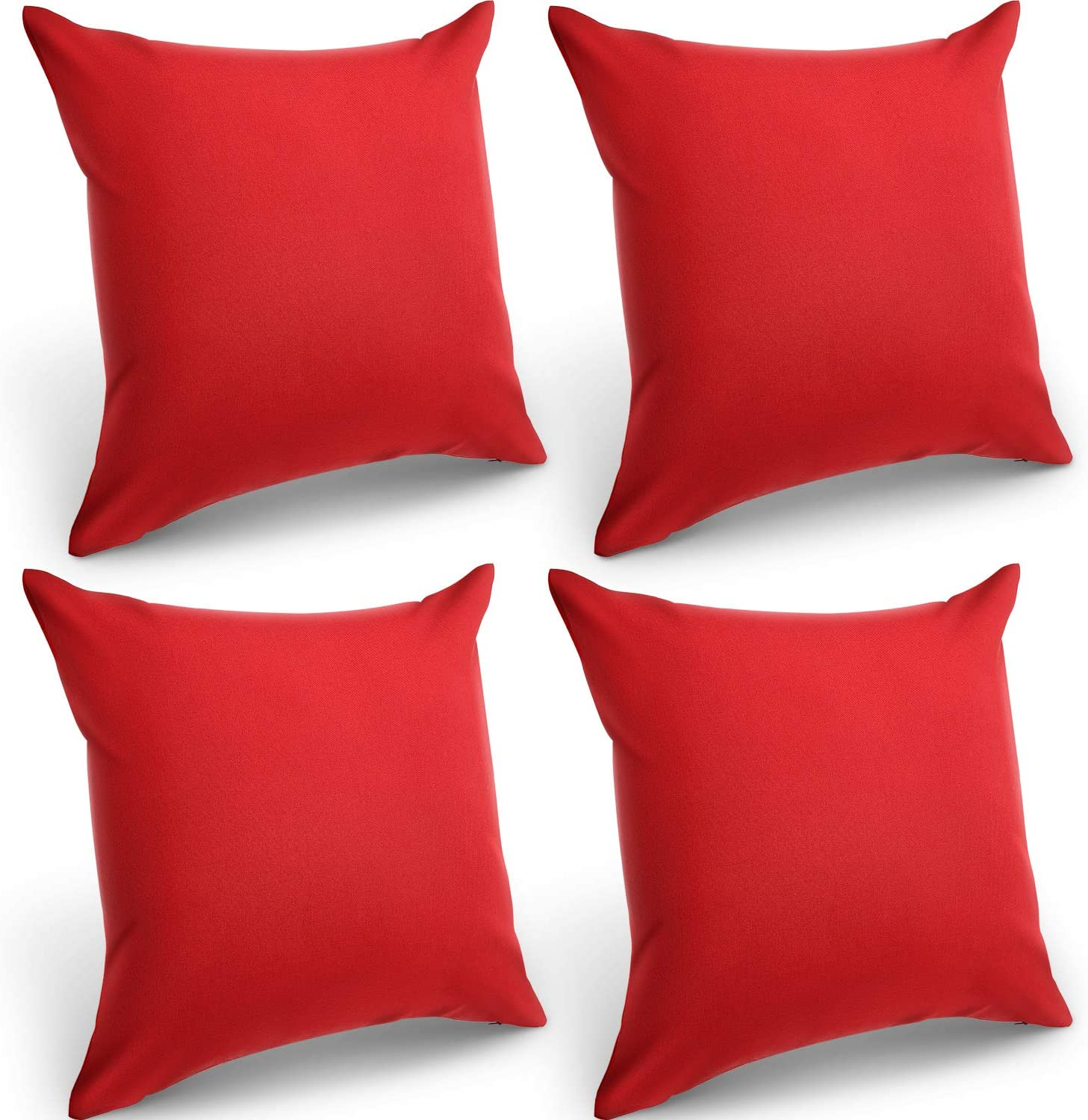 4 Packs Decorative Outdoor Waterproof Throw Pillow Covers, Square Garden Cushion Case, PU Coating Pillow Shell for Couch, Bed, Patio, Sofa, Tent and Balcony (Red, 18 x 18 Inches)