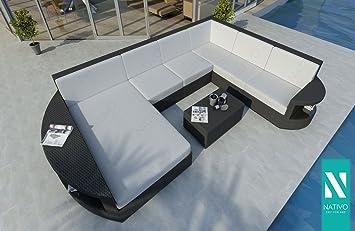 Outdoor Küche Xxl : Nativo luxus rattan lounge sofa atlantis xxl mit led licht